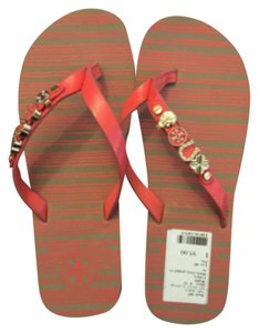 Tory Burch Flipflops Beach Vacation Comfortable Lucky Charms Salmon Sandals