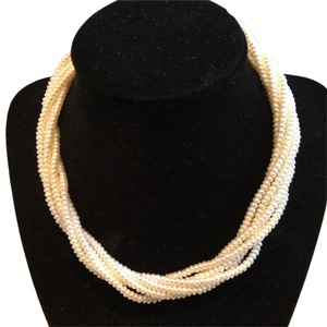 Multi-Strand Twist Pearl Necklace with 14k Gold Clasp