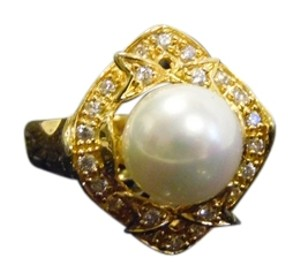 Pearlfection Pearlfection Faux Golden South Sea Pearl Ring Size 7