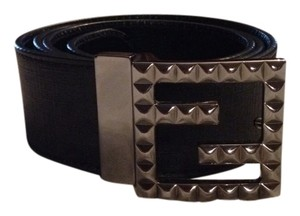 Fendi FENDI Black Leather And Gunmetal Belt