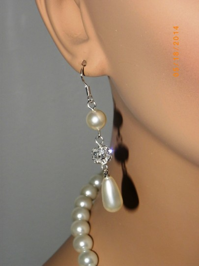 Other Vintage Style Pearl Wedding Bridal Necklace Pearl Rhinestone Flower Necklace And Earrings Ivory Swarovski Crystal