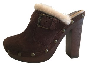 Jessica Simpson Suede Fur Trim Studded Brown Mules