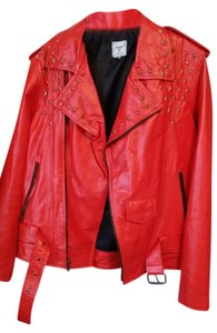 Iridium Leather Red Gold Motorcycle Jacket