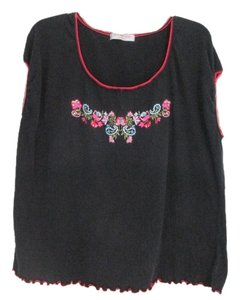 Extra Touch Top Black with multicolor design