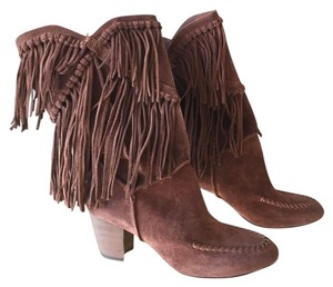 "7 For All Mankind Chestnut brown suede fringe boots ""caddie"" stacked heel Boots"