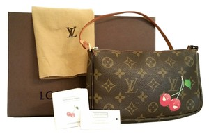 Louis Vuitton Pochette Monogram Cerises Cherry Pochette Cherry Wristlet in Brown