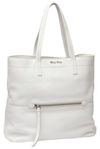 Miu Miu Designer Leather Tote in White