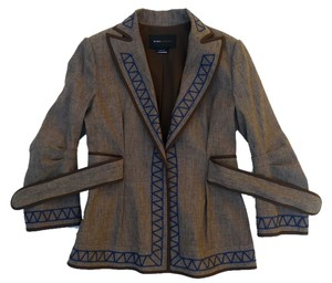 BCBGMAXAZRIA Embroidered Linen Brown Blazer