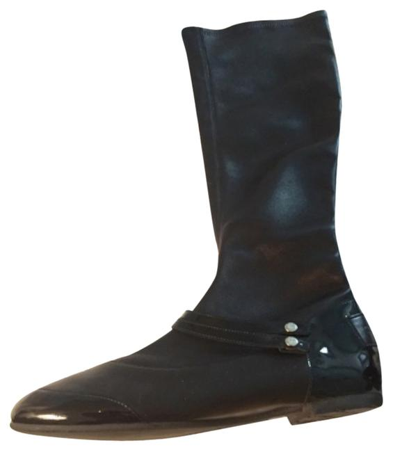 Item - Blac Stretch Leather Tall Boots/Booties Size US 7.5 Regular (M, B)