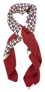Gucci ICONIC HORSEBIT SILK SCARF IN IVORY WITH RED & BLUE HORSEBIT PRINT