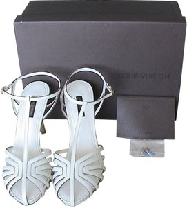 Louis Vuitton Patent Leather High Heel T-strap Monogram Flower Creme Sandals