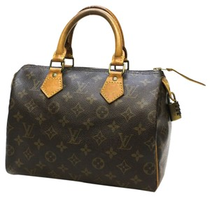 Louis Vuitton Speedy 25 Lock And Key Canvas Satchel in Brown