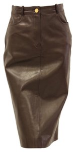 Céline Pencil Lambskin Leather Soft Skirt Brown