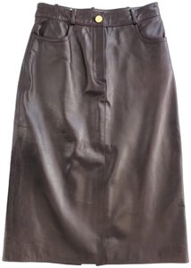Céline Pencil Lambskin Leather Soft Skirt Dark Plum
