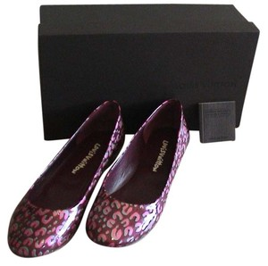 Louis Vuitton Patent Leather Ballet Limited Edition Leather Sole Vernis Leopard Rouge Fauviste Flats