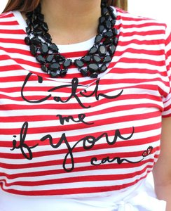 Kate Spade New York Stripedtee & Catch Me If You Can T Shirt Red & White