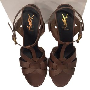 Saint Laurent Ysl Stiletos Designer Ysl Brown Platforms