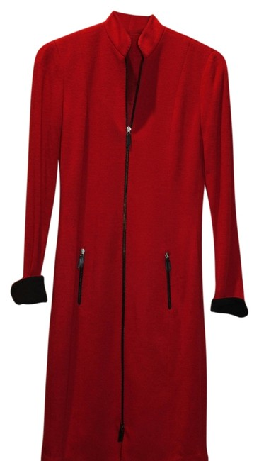 Item - Red and Black Knee Length Work/Office Dress Size 4 (S)
