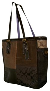 Coach Leather Suede Signature Logo Tote in Brown Gold