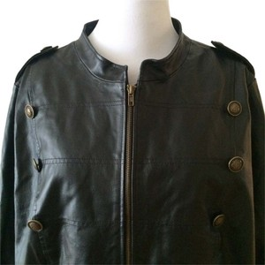 Roaman's Military Epulets Buttons Lined Collarless Nehru Leather Jacket