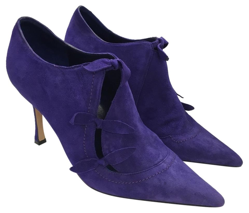 Manolo Blahnik Purple Ankle Suede Toe Cut Out Bow Pointed Toe Suede Stitching Limited Boots/Booties c33c4f