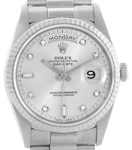 Rolex Rolex President Day-Date 18k White Gold Diamond Mens Watch 18239