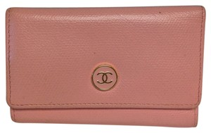 Chanel Chanel #3791 Baby pink calfskin Enamel CC logo flap 6 Ring Key Holder Trifold