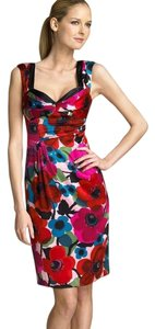 Nanette Lepore Silk Floral Colorful Sheath Poppy Charmeuse Dress