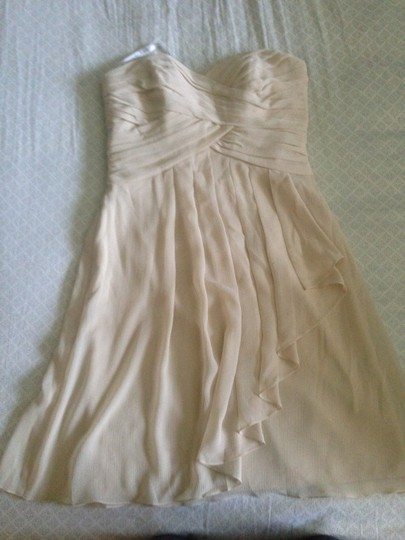 David's Bridal Champagne Polyester F14847 Formal Bridesmaid/Mob Dress Size 4 (S)