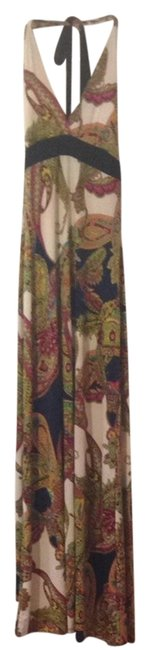 Item - Multi Colored Greens Pinks Reds Paisley Summer Full Length Halter Sundress Long Casual Maxi Dress Size 4 (S)