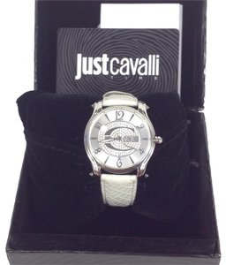 Just Cavalli Just Cavalli Ladies Watch Eclipse with 3 H and S, Silver Dial and White Leather Strap R7251168715