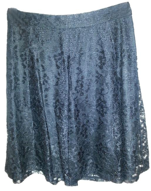 Express High Waisted Flare Mini Skirt Black Lace