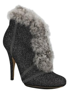 Dior Metallic Lace Fur Silver Grey Boots