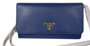 Prada Clutch 1m1437 Blue Saffiano Leather Cross Body Bag