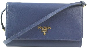 Prada Leather Strap Blue Clutch