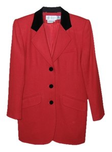 Casual Corner Vintage Classic Red Wool with Black Velour Collar Blazer