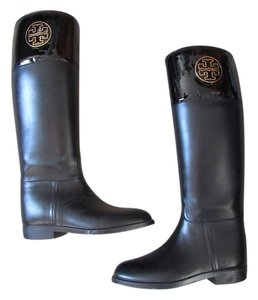 Tory Burch Rubber Patent Leather Black Boots
