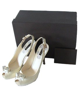 Louis Vuitton Patent Leather Ivory Sandals
