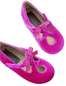 JoyFolie Girls Ballerinas Velvet Bow Hot Adjustable Velcro pink Flats