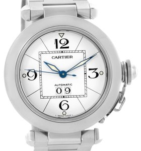 Cartier Cartier Pasha C Midsize Steel Watch Big Date White Dial W31044M7