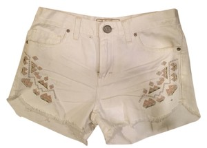 Free People Mini/Short Shorts White Jean