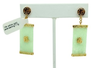 Other 14k Yellow Gold 7.7g GOOD LUCK Jade Earrings, Retail $599.99
