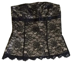 Express Satin Ribbon Top Black lace with cream underlay
