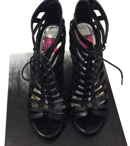 Dolce Vita Caged Cutout Lace-up Peep-toe Black Sandals