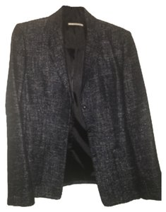 Tahari Navy Blue and Silver Metallic Blazer