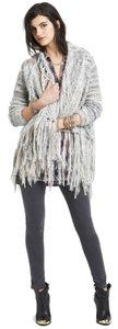 Free People Cardigan Wool Fringe Hem Cream/Beige/Gray Neutral Blazer