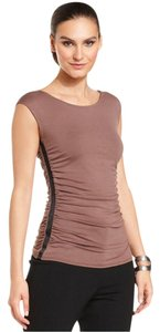 New York & Company Scoop Neckline Pullover Style Ruching At Sides Fitted Silhouette Top Coco
