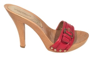 Dolce&Gabbana Dolce Gabbana Red Leather & Wood Mules