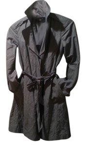 Ann Taylor Blue Gray Metallic Blue Raincoat Car Slicker Trench Trench Coat