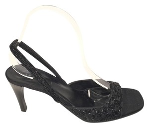 Gucci Crystal Black Beaded Satin Pumps